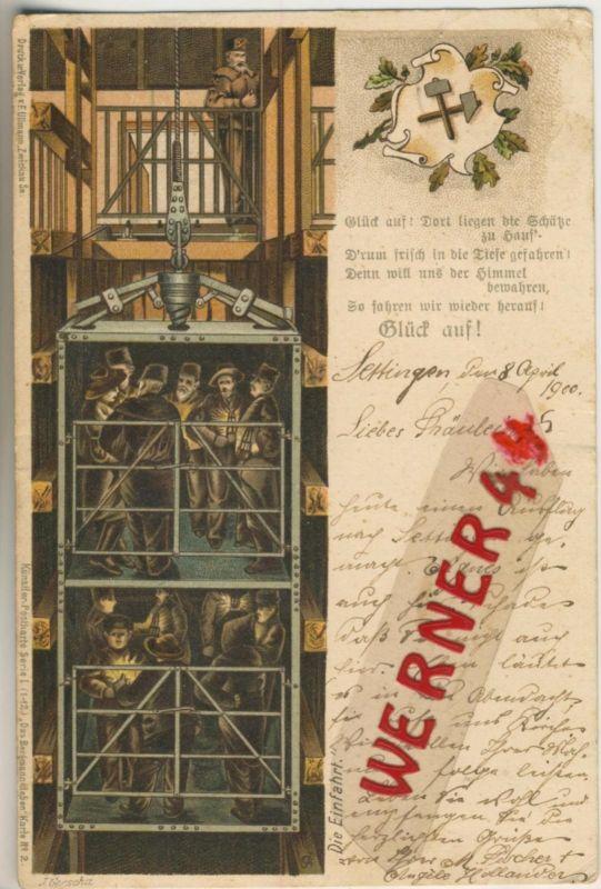 Settingen / Deutschland = Frankreich v. 1900  Bergbau - Ab in die Tiefe  (49577)
