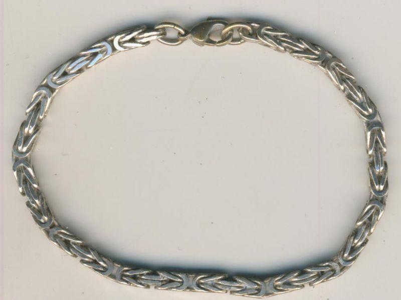 Armband-Panzerkette, Silberkette - 925 Silber - Breite 0,4cm - Länge 21 cm (P2)