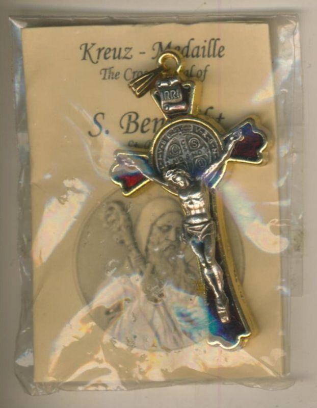 Kreuz Anhänger  (Medaille) - S. Benedikt in Rot (Kreuz1)