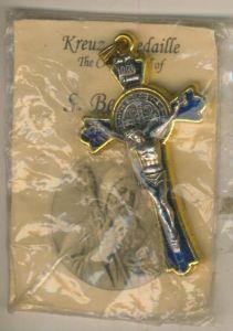 Kreuz Anhänger  (Medaille) - S. Benedikt in Blau (Kreuz2)