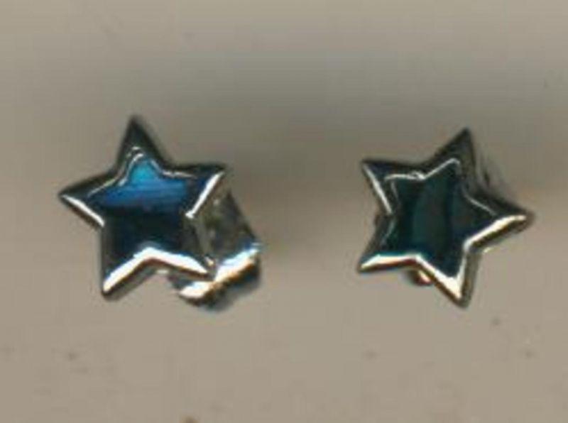 Ohr-Stecker aus Silber mit blauen Stern  (Ohr1)