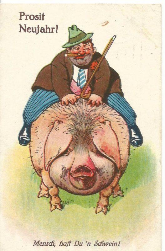 Prosit Neujahr v. 1929  Bauer reitet auf ein Schwein  (50800)