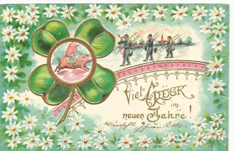 Viel Glück im neuen Jahr v. 1903  Ferkel reitet auf eine Sau und 3 Schornsteinfeger (50845)
