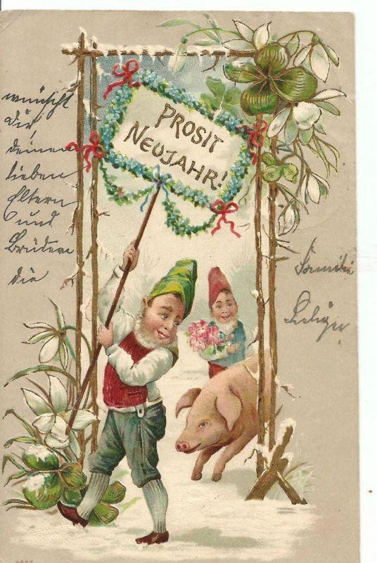 Prosit Neujahr v. 1902  2 Zwerge und ein Schwein  mit Torbogen  (50846)