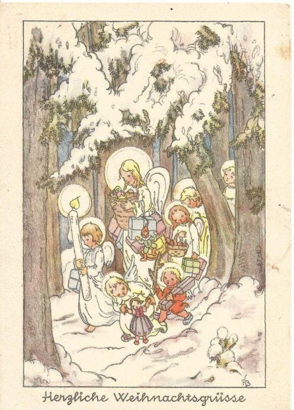 Herzliche Weihnachtsgrüsse v. 1938  Engel gehen durch den Winterwald  (50868)