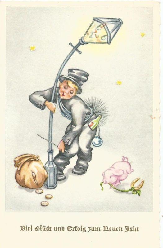 Viel Glück und Erfolg zum Neuen Jahr v. 1936  Schornsteinfeger an der Laterne mit einen Geldsack  (50869)