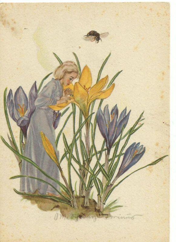Mädchen in der Krokus-Blumenwiese v. 1938  (50870)