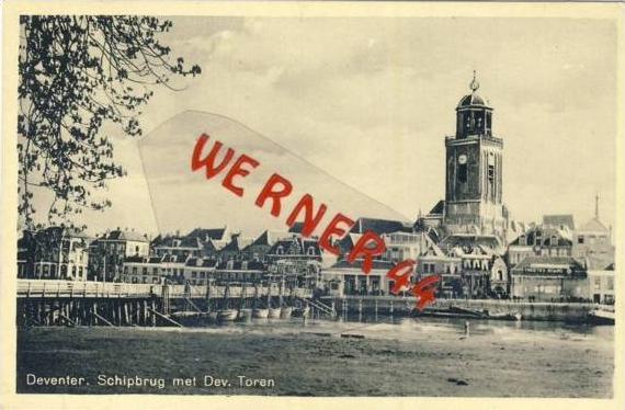 Deventer v. 1939  SWchipbrug met Dev. Toren  (33404)