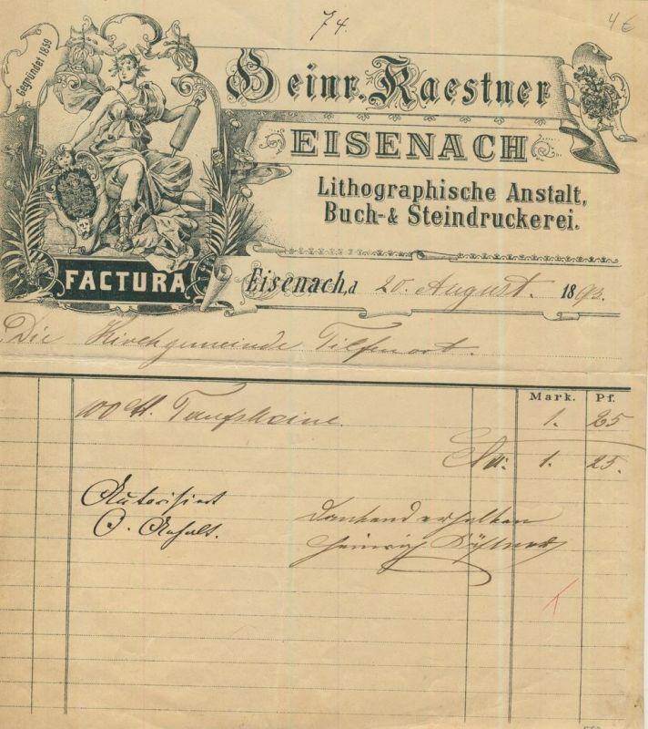 Eisenach von 1893 Heinr. Kaestner - Buch & Steindruckerei  (54099-164)