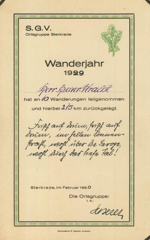 S.G.V. Ortsgruppe Sterkrade v. 1930  Urkunde - Wanderjahr 1930, Herr Heirich Kracht (54251)