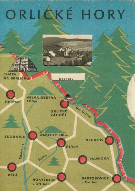 Orlicke Hory / Adlergebirge v. 1955 Karte mit Scheibe zum Drehen - 4 Ansichten (55399)