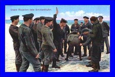 Marine v. 1916 Blaujacken beim Schinkenklopfen  (1915)