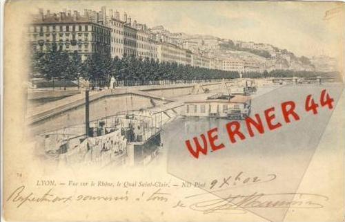 Lyon v. 1902  Vue sur le Rhöne, le Quai Saint Clair (27401)