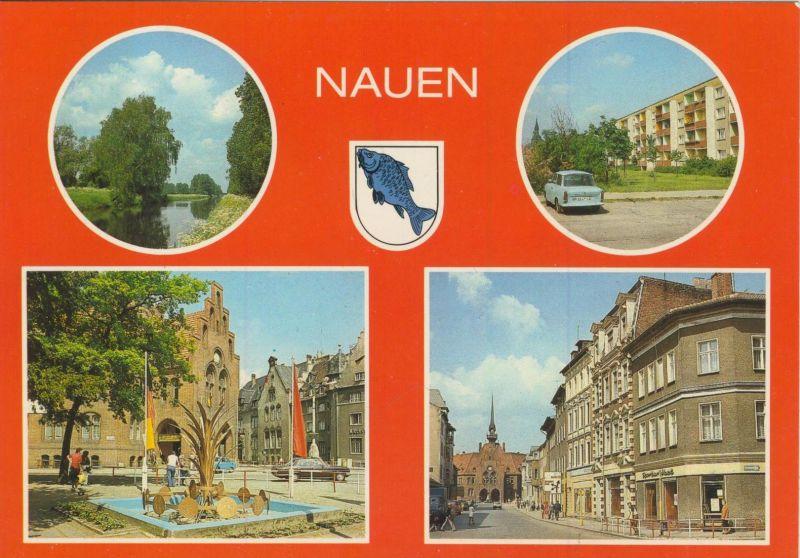 Nauen v. 1986 Hauptkanal,Strasse des Friedens,Ernst T.-Platz,Berliner Strasse  (55532)