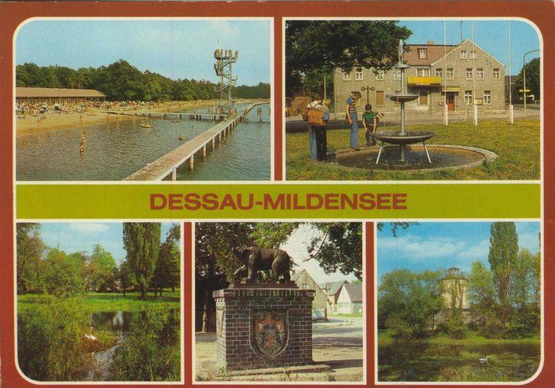 Dessau-Mildensee v. 1986  Kosum Klubgaststätte,Scholitzer See,Gedenkstein,Turm (55564)