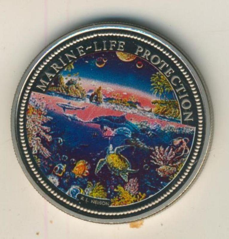 Rebublic of Palau, 1 Dollar, Farbmünze,stgl.,1993, Marine-Life-Protection  (54012)