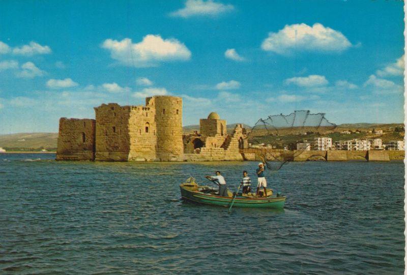 Sidon v. 1972  Kreuzfahrer Schloß und Fischer beim Netz auswerfen  (55475)