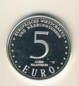 5 Jahre Maastricht, Europäische Wirtschafts Währungsunion, 999 Silber -- 5 Euro Maastricht  (55840-2)