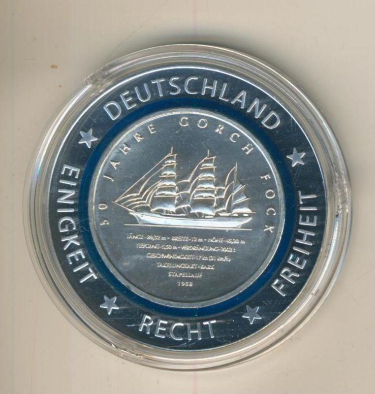 10 Euro BRD 50 Jahre Segelschulschiff Gorch Fock, mit blauem Polymerring (55840-6)