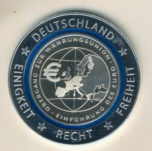 10 Euro BRD Übergang zur Währungsunion - Einführung des Euros, mit blauem Polymerring (55840-7)