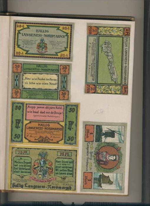 super popular 81f2d 07e76 Hallig Langness-Nordmarsch v. 1921 20,30,50,75 Pfennig + 1,- ,2,- Mark ---  ( GUTSCHEIN ) (1537)