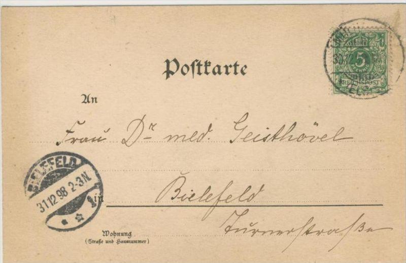 Mülheim / Els. vom 31.12.1898   Postkarte der Deutschen Reichspost mit ein Engel   --- siehe Foto !!    ( 36325 )
