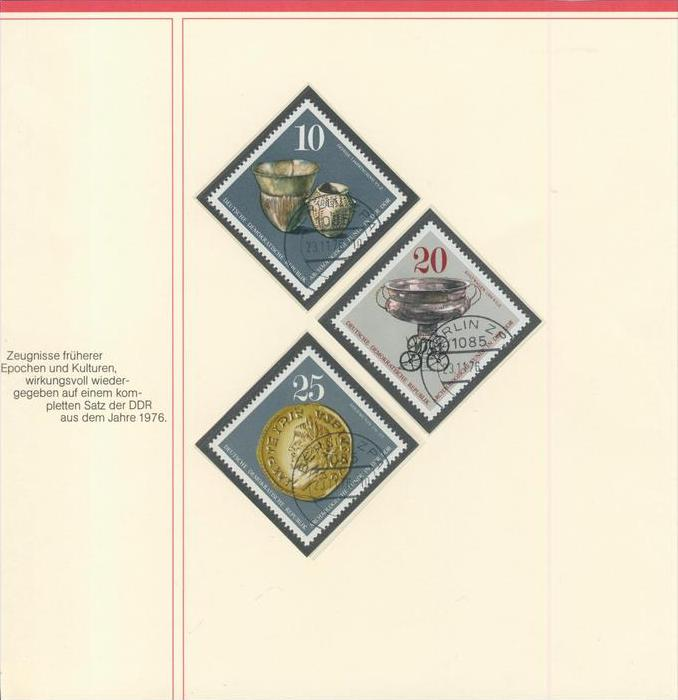 DDR v. 1976   Zeugnisse früherer Epochen 10,20,25,35,70 Pfennig --  siehe Foto !!   (002)