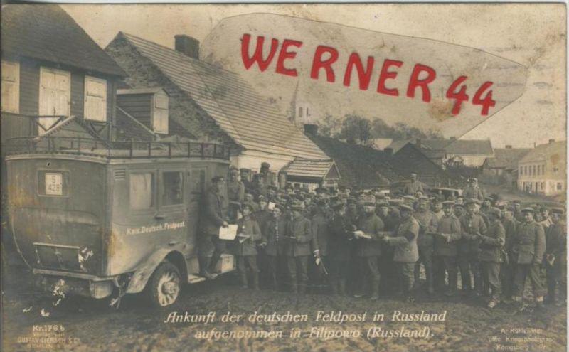 Filipowo / Russland v. 1916  Ankunft des deutschen Feldpostauto`s  ---  (36564)