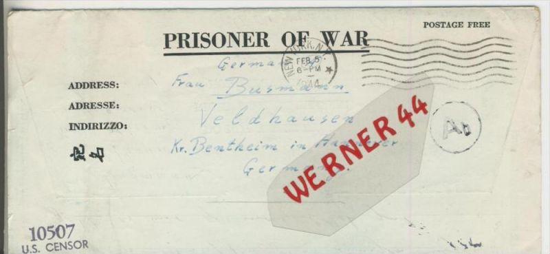 Gefangenen Post  v. 19. Jan. 1944  Nach Veldhausen --  Pastor Busmann (28108)