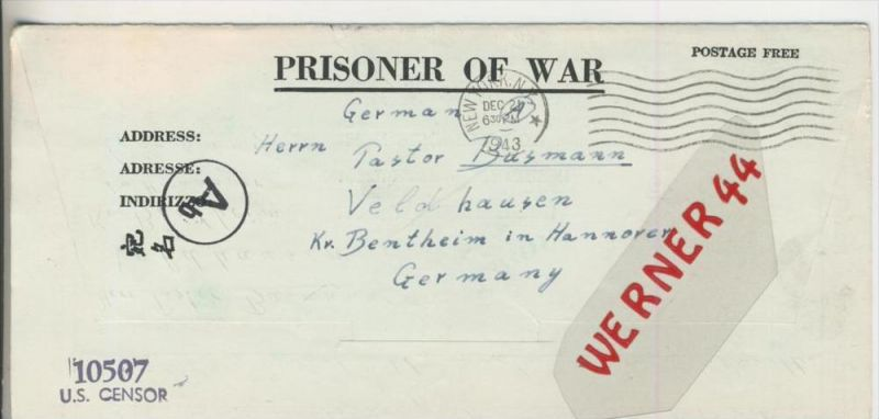 Gefangenen Post  v. 27. Nov. 1943  Nach Veldhausen --  Pastor Busmann (28110)