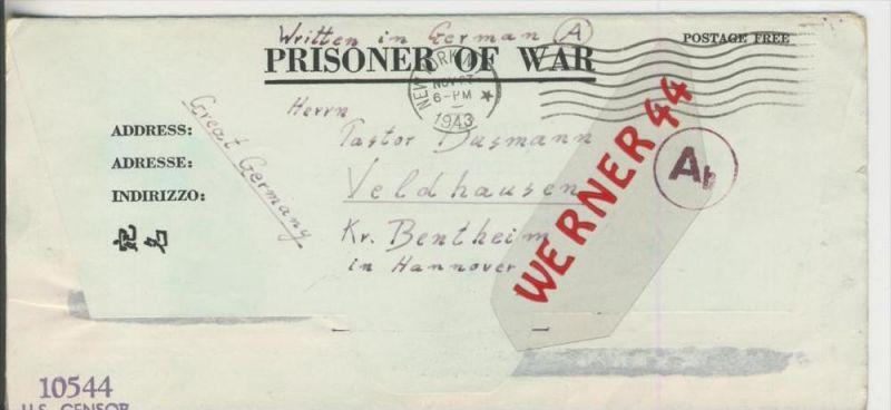 Gefangenen Post  v. 5. Nov. 1943  Nach Veldhausen --  Pastor Busmann (28112)