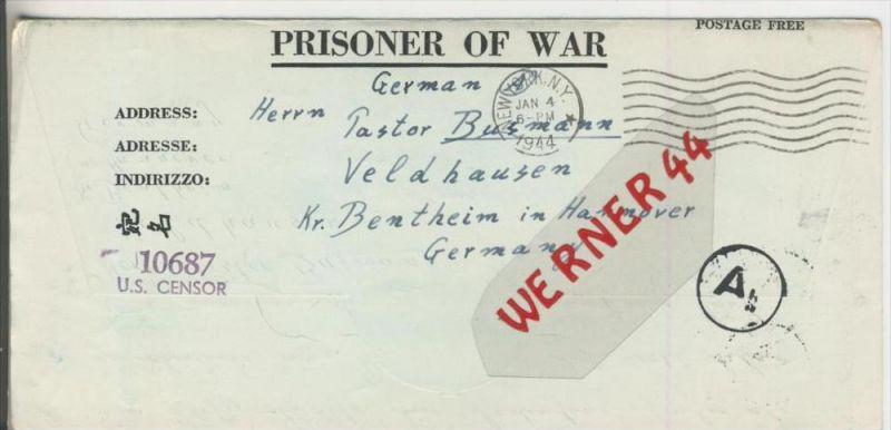 Gefangenen Post  v. 18. Dez. 1943  Nach Veldhausen --  Pastor Busmann (28113)