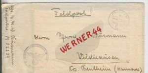 Gefangenen Post  v. 16. März 1943  Nach Veldhausen --  Pastor Busmann (28115)