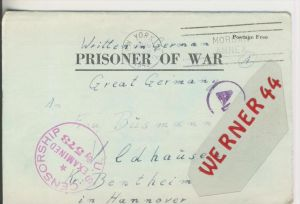Gefangenen Post  v. 3. Aug. 1945  Nach Veldhausen --  Pastor Busmann (28116)