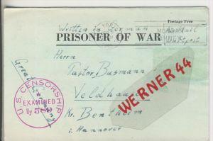 Gefangenen Post  v. 2. Sept. 1943 Nach Veldhausen --  Pastor Busmann (28117)