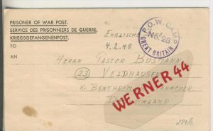 Gefangenen Post  v. 25. Jan. 1948 Nach Veldhausen --  Pastor Busmann (28118)