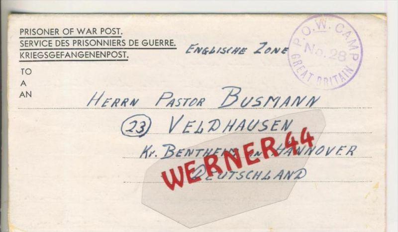 Gefangenen Post  v. 16. Febr. 1947   Nach Veldhausen --  Pastor Busmann (28120)