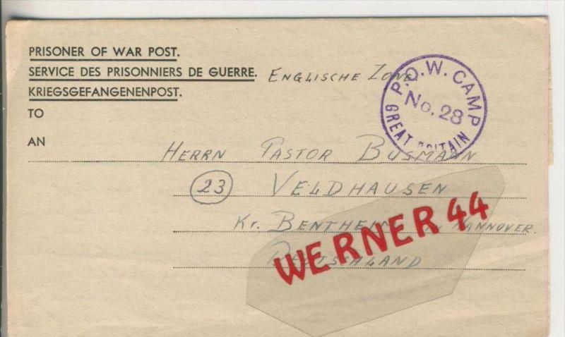 Gefangenen Post  v. 31. Aug. 1947   Nach Veldhausen --  Pastor Busmann (28121)