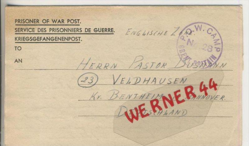 Gefangenen Post  v. 17. Aug. 1947   Nach Veldhausen --  Pastor Busmann (28122)