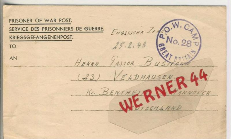 Gefangenen Post  v. 15. Febr. 1948   Nach Veldhausen --  Pastor Busmann (28123)