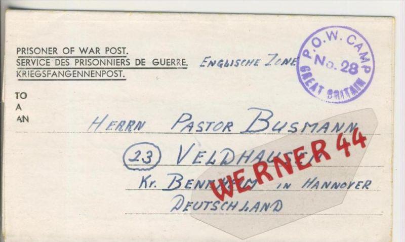 Gefangenen Post  v. 19. Jan. 1947   Nach Veldhausen --  Pastor Busmann (28124)