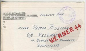 Gefangenen Post  v. 9. März 1947   Nach Veldhausen --  Pastor Busmann (28125)