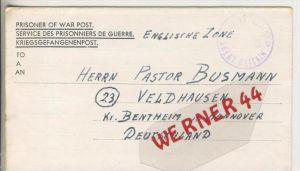 Gefangenen Post  v. 23. Febr. 1947   Nach Veldhausen --  Pastor Busmann (28126)