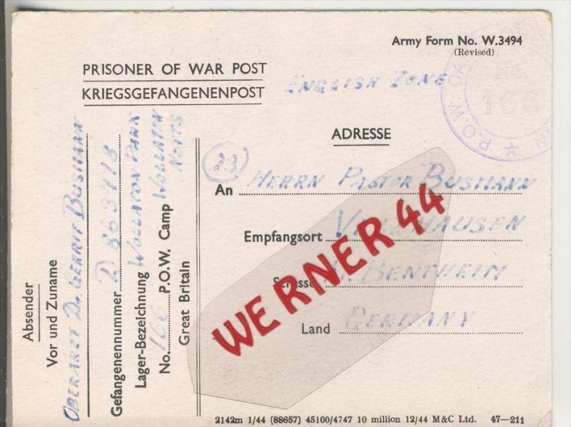 Gefangenen Post  v. 30. Juni 1946   Nach Veldhausen --  Pastor Busmann (28128)
