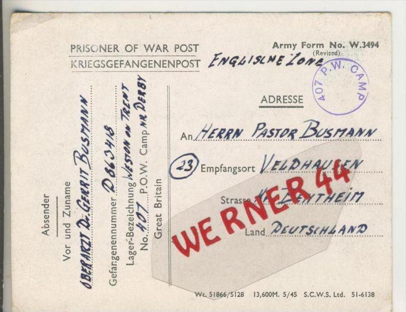 Gefangenen Post  v. 29. Sept.1946   Nach Veldhausen --  Pastor Busmann (28129)