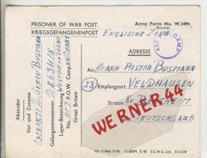 Gefangenen Post  v. 3. Nov.1946   Nach Veldhausen --  Pastor Busmann (28130)