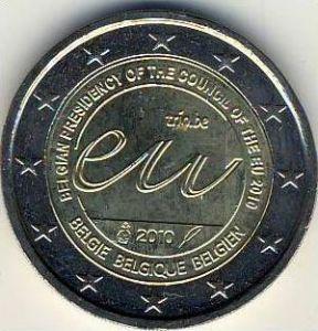 2 Euro Münze Belgien 2010 EU-Ratsp. Sondermünze  --- (4)