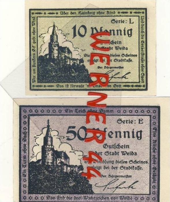 Städte Notgeldscheine - Banknoten während der Inflationszeit v. 1921 Weida 10,50  Pfg.
