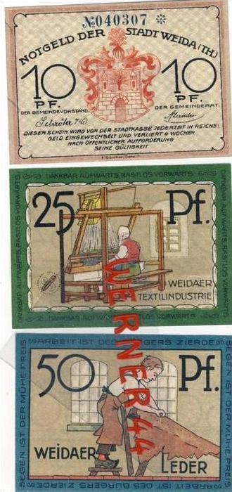 Städte Notgeldscheine - Banknoten während der Inflationszeit v. 1921 Weida 10,25,50  Pfg.