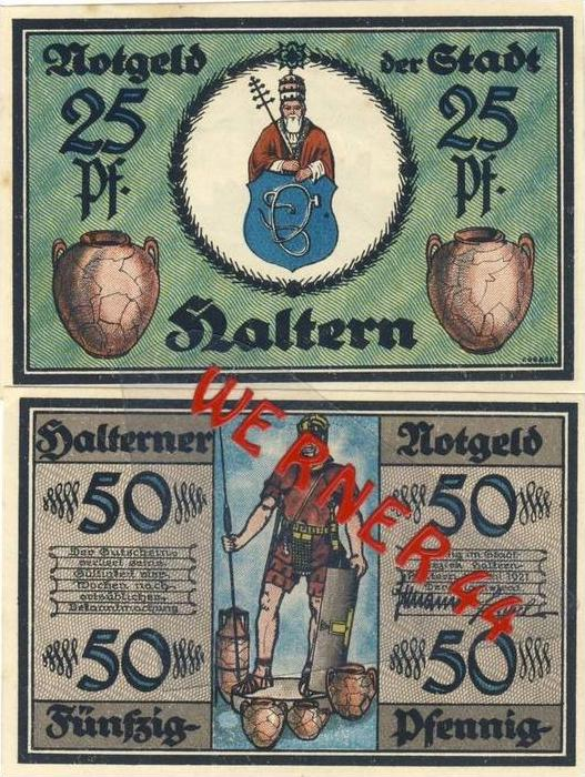 Städte Notgeldscheine - Banknoten während der Inflationszeit v. 1921 Haltern 25,50 Pfg.